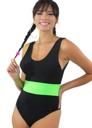 Body feminino preto com faixa neon verde