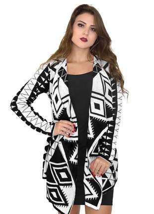 Malha feminina de tricot lã blusa quimono cardigan ref 110 ( preto/branco)