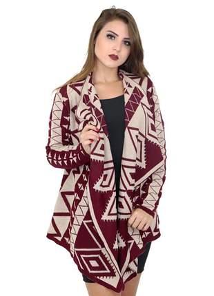 Malha feminina de tricot lã blusa quimono cardigan ref 110 (vermelho escuro/branco)
