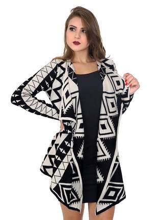 Malha feminina de tricot lã blusa quimono cardigan ref 110 (preto-dourado)