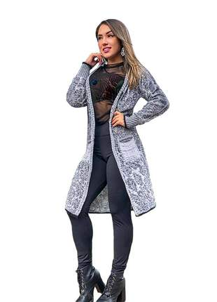 Sobretudo trench coat  estilo quimono ref:978 (cinza mescla)