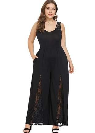 Macacão moda plus size fenda e renda ref:971