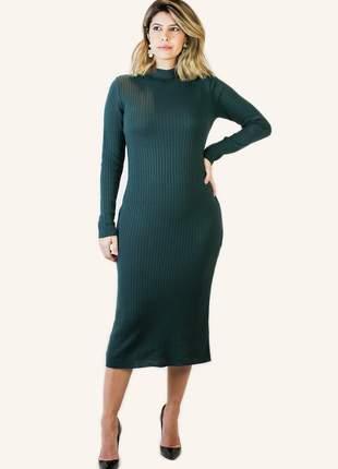 Vestido verde militar midi tricot manga comprida inverno 2020