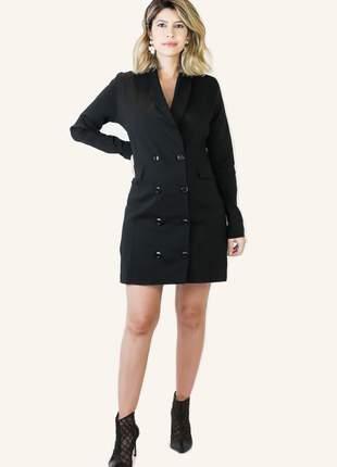 Vestido blazer preto curto manga longa