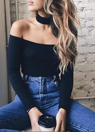Blusa feminina manga longa ombro a ombro