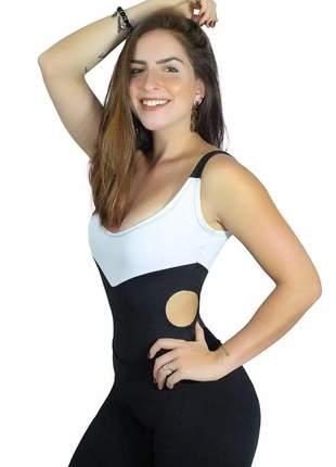 Body feminino alcinha preto e branco com detalhe na cintura