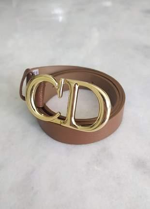 Cinto inspired christian dior caramelo  100% couro ferragens douradas