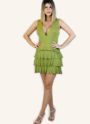 Vestido curto verde chamois