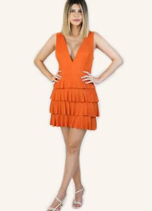 Vestido curto laranja chamois