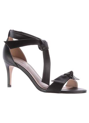 Sandália salto médio nó preta