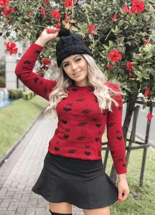 Blusa tricot estampada