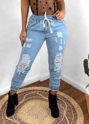 Calça jeans boyfriend feminina jogger rasgadinha cordão skiny calça jeans boyfriend