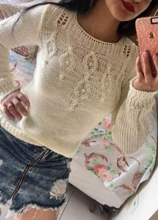 Blusa de frio feminina tricot com pérolas cor off