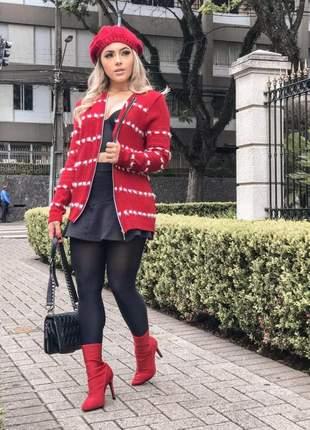 Jaqueta de tricot com zíper detalhes poá