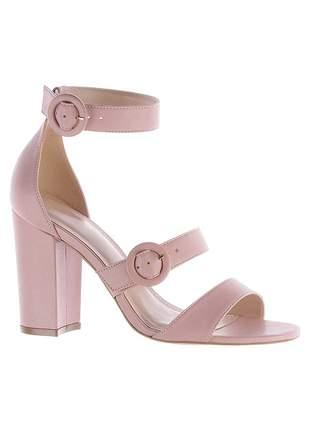 Sandália salto bloco grosso rose