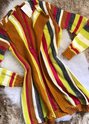 Kimono alongado em tricot