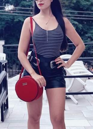 Bolsa redonda feminina lisa couro eco mini bag transversal