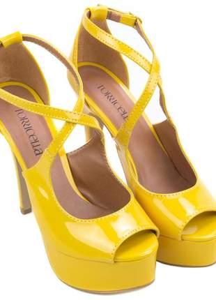 Sandália salto alto fino amarelo festa torricella nº 37