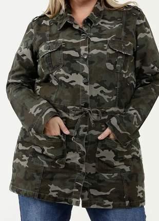 Parca parka camuflada plus size casaco jaqueta verde militar