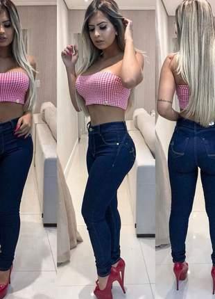 Calça jeans basica amaciada escura cintura alta levanta bumbum com lycra