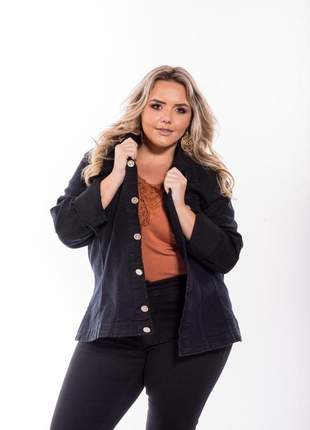 Jaqueta parka casaco jeans plus size preto com lycra tamanhos grande