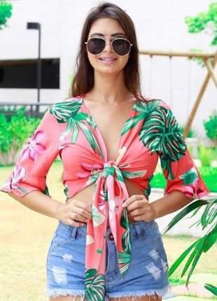 Blusinha feminina estampada viscose, duas formas de usar