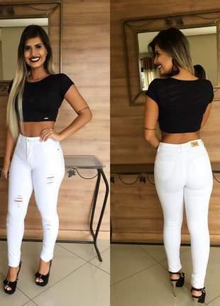 Calça branca rasgada feminina levanta bumbum modeladora com lycra