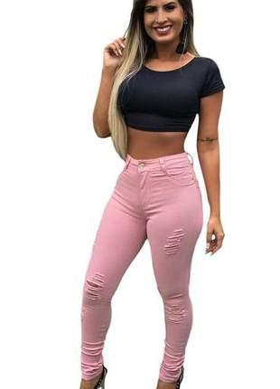 Calça jeans rosa feminina estilo pitbull levanta bumbum modeladora lycra