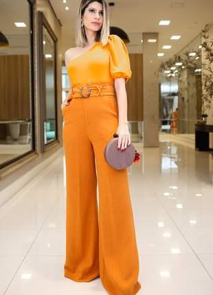 Calça pantalona cós alto linho laranja