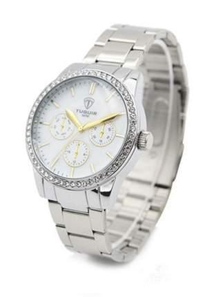 Relógio feminino prata analógico 5028 tuguir