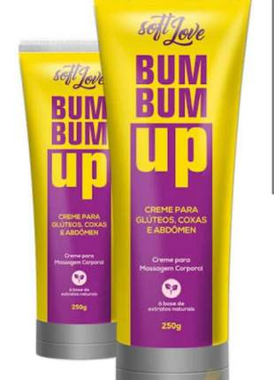 Creme bumbum up massagem corpo abdomen coxa soft love
