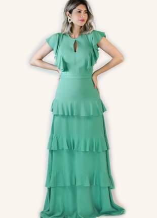Vestido longo em linho com babados verde