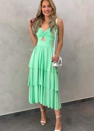 Vestido midi em malha verde menta
