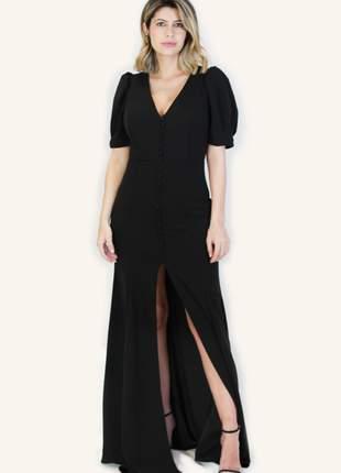 Vestido longo  mangas bufantes preto fenda