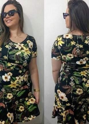 Vestido curto plus size estampado simples florido