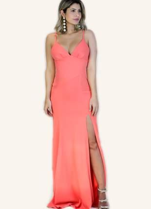 Vestido longo fenda alça cor coral