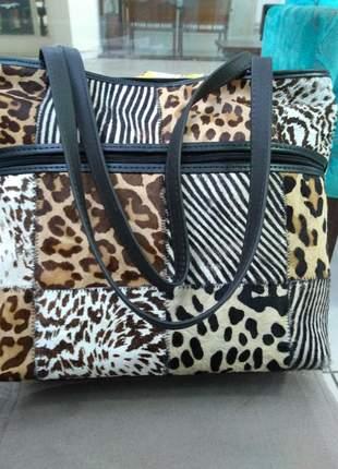 Bolsa em couro legitimo retalhos selecionados direto de fabrica animale (pêlos)