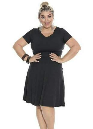 Vestido midi preto rodado manga curta moda evangelica