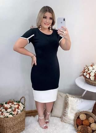 Vestido midi preto justo moda evangelica cristã