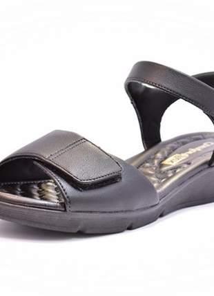 Sandália feminina tamanho grande anabela comfortflex avelã e preto 40, 41 e 42