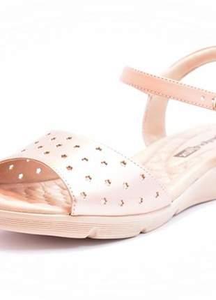 Sandália feminina tamanho grande anabela comfortflex rosê numeração especial 40, 41 e 42