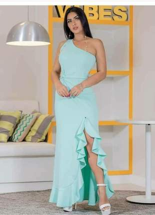 Vestido longo azul tiffany detalhe babados fenda festa