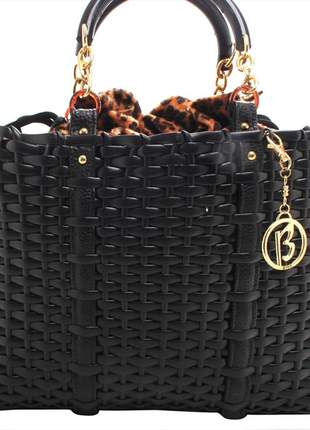 Bolsa feminina grande preta sacola animal print lançamento