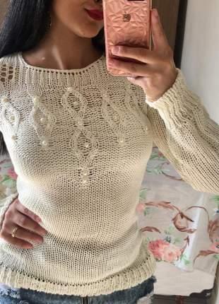 Blusa casaco de frio tricô tricot com pérolas moda inverno