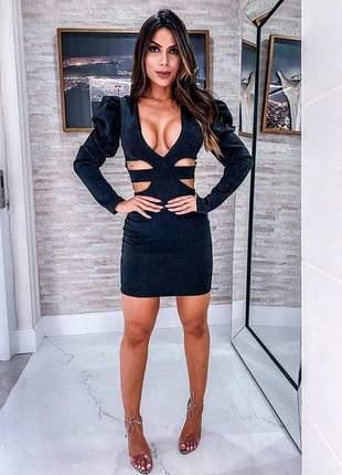 Vestido curto preto em lurex brilho manga longa
