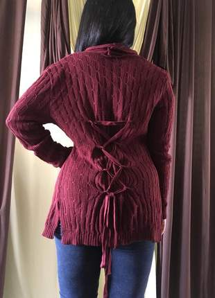Kimono tricot trico feminino com detalhe nas costas marsala