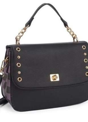 Bolsa feminina preta pequena tiracolo alça removível birô fashion