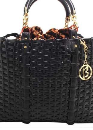 Bolsa feminina sacola animal print preta social executiva birô lançamento