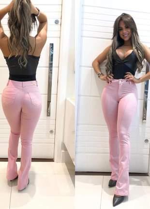 Calça flare rosa feminina com lycra boca de sino boca larga