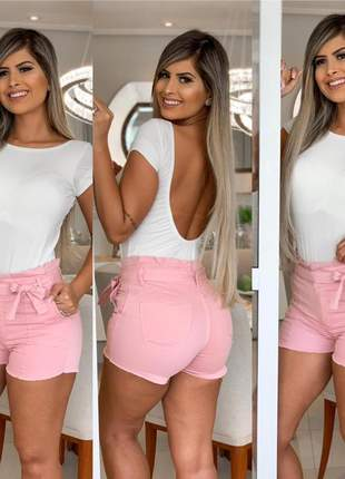 Shorts clochard rosa laço cintura com lycra cintura alta